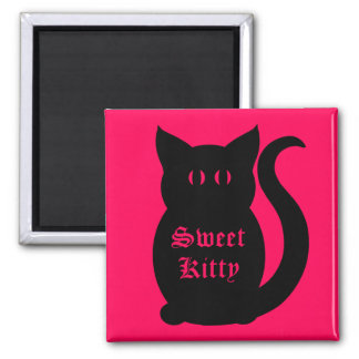 Black sweet kitty on hot pink magnet