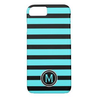 Black & Swimming Pool Aqua Blue Stripe Monogram iPhone 8/7 Case