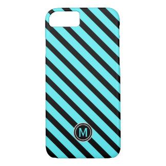 Black Swimming Pool Blue Diagonal Stripe Monogram Case-Mate iPhone Case