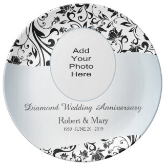 Black Swirl Diamond 60th Wedding Anniversary Photo Plate