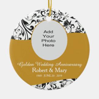 Black Swirl & Gold 50th Wedding Anniversary Photo Round Ceramic Ornament