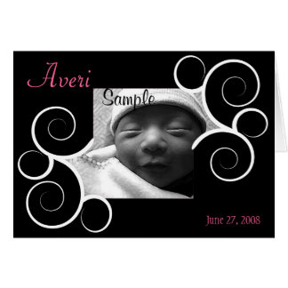 Black Swirl photo Birth Announcement