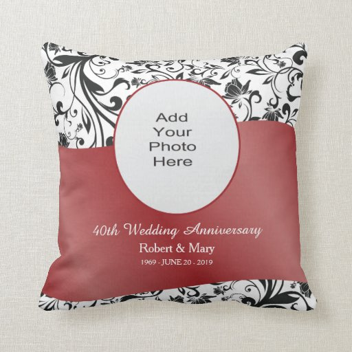 Black Swirl & Red 40th Wedding Anniversary Photo Throw Pillows