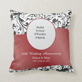 Black Swirl & Red 40th Wedding Anniversary Photo Throw Pillow