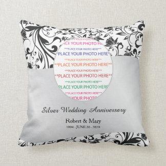 Black Swirl & Silver 25th Wedding Anniversary Throw Pillow