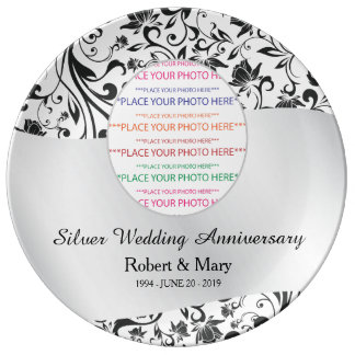 Black Swirl & Silver 25th Wedding Anniversary Plate