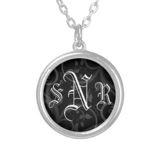 Black Swirl with Three Initial Monogram Pendant
