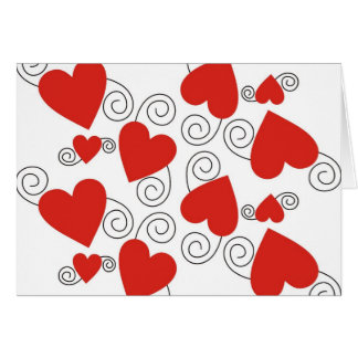 Black Swirls And Red Heart Card