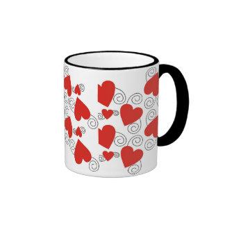 Black Swirls And Red Heart Mug