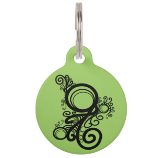 Black Swirls Art Nouveau Pet Tags