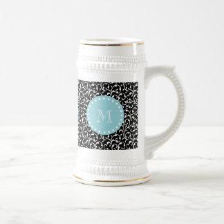 Black Swirls, Blue White Monogram Beer Steins