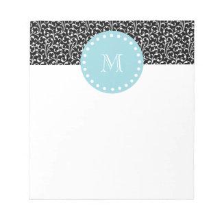 Black Swirls, Blue White Monogram Notepads
