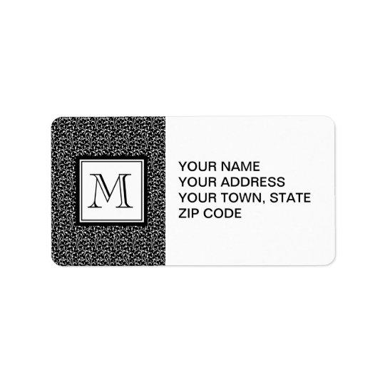 Black Swirls, Custom Monogram, Your Initial Label