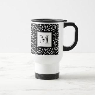 Black Swirls, Custom Monogram, Your Initial Travel Mug