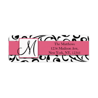 Black Swirls Damask Pink Return Address Labels