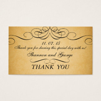 Black Swirls Damask Vintage Wedding Favor Tag Business Card