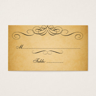 Black Swirls Vintage Wedding Place Card