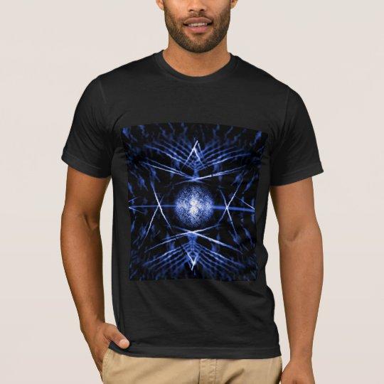 Black T-Shirt - Black and Blue Digital Graphic Art