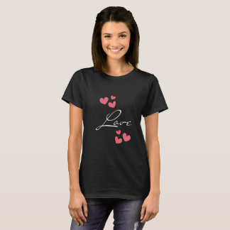 Black T-shirt with a hearts theme