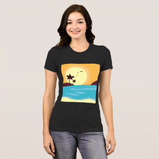 Black t-shirt with beach drawing