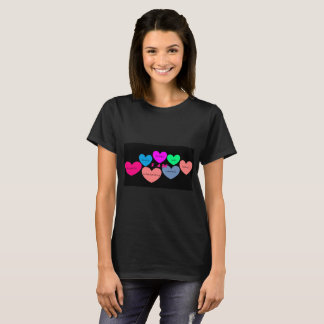 black t-shirt with cute colorful heart design