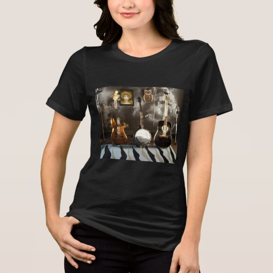 Black T-Shirt with Guitars, Banjo and Fairy Poster