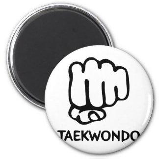 black taekwondo icon 2 inch round magnet