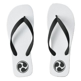 Black Taiko Mitsudomoe Flip Flops