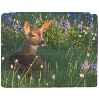 Black-tail Deer Fawn, alpine wildflowers iPad Cover