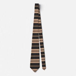 Black, Tan and White Stripe Tie