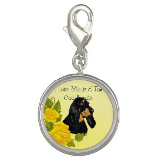 Black & Tan Coonhound and Yellow Roses Charms