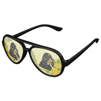 Black & Tan Coonhound and Yellow Roses Party Sunglasses