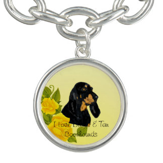 Black & Tan Coonhound and Yellow Roses Bracelets