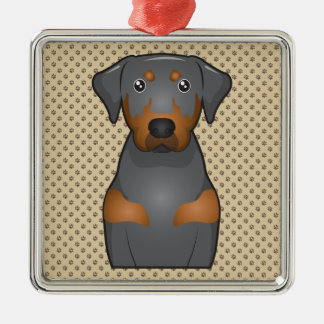 Black & Tan Coonhound Cartoon Portrait Metal Ornament