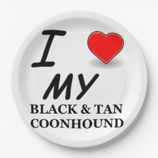 black tan coonhound love 9 inch paper plate