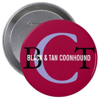Black Tan Coonhound Monogram Pinback Buttons