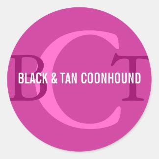 Black & Tan Coonhound Monogram Round Sticker