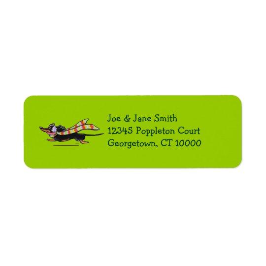 Black Tan Dachshund Cute Winter Return Address Label