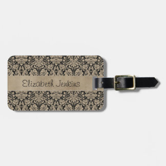 Black Tan Damask Stitched Vellum Luggage Tag