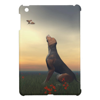 Black tan dog looking a bird flying cover for the iPad mini