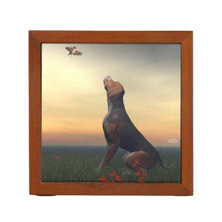 Black tan dog looking a bird flying desk organizer