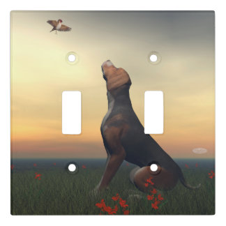 Black tan dog looking a bird flying light switch cover