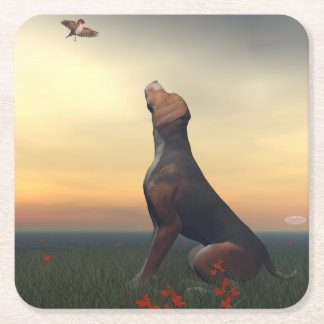 Black tan dog looking a bird flying square paper coaster