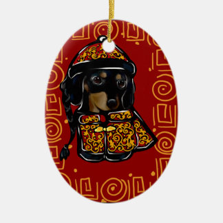 Black & Tan Doxie of the Year Ceramic Ornament