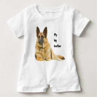 Black & Tan German Shepherd Brother/Sister Baby Romper
