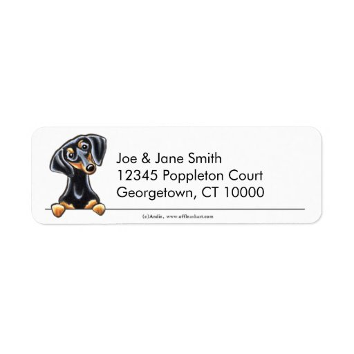 Black Tan Smooth Dachshund Clean & Simple Custom Return Address Labels
