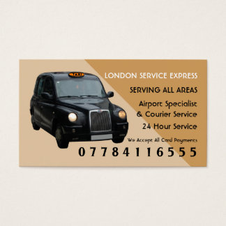 Black Taxi Cab Airport And Station Price Lists Business Card