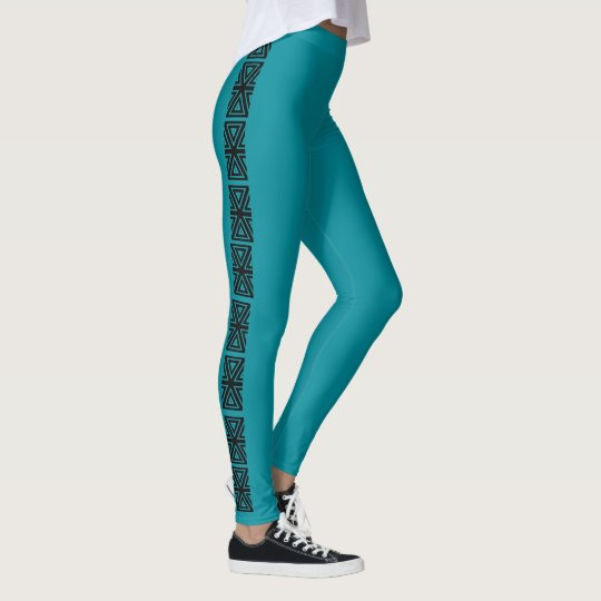 Black Teal Aztec Stripe 4rhonda Leggings