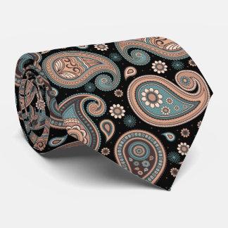 Black teal beige elegant vintage paisley pattern tie