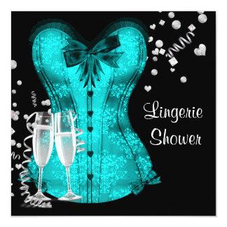 "Black Teal Blue Corset Lingerie Bridal Shower 5.25"" Square Invitation Card"